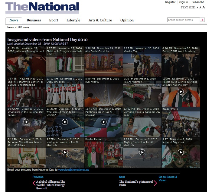 Screenshot showing The National's project for National Day 2010 on a desktop