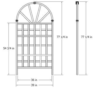 Athens Trellis wireframe dimensions