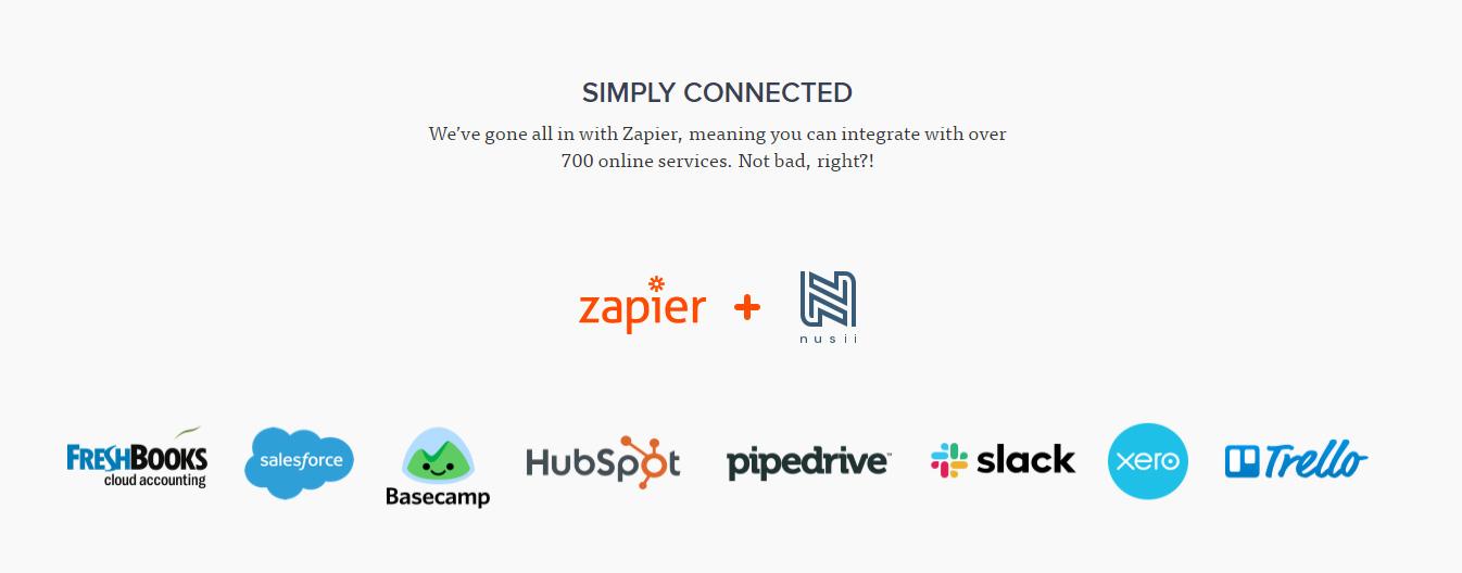 SaaS Landing Page Tips with Josh Garofalo: Screenshot of Nusii's Zapier integrations