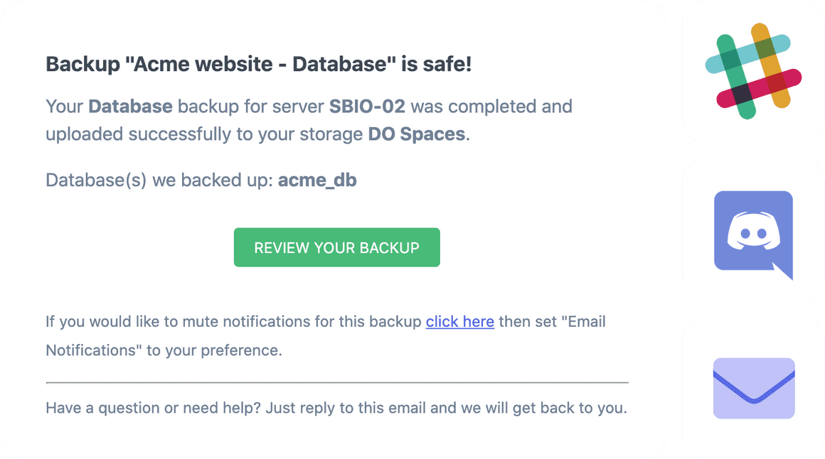 SimpleBackups restore mysql database backup