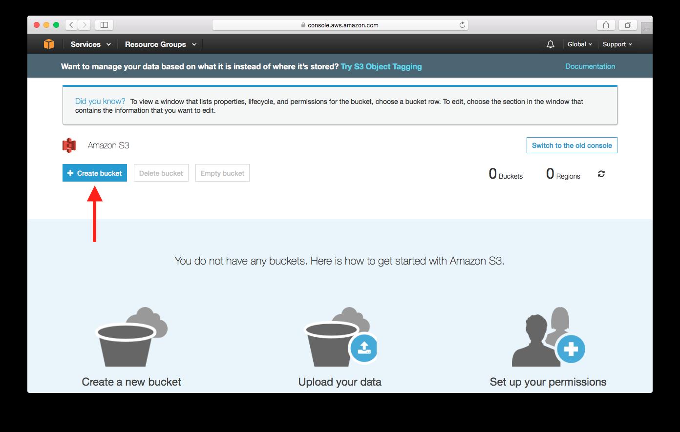 Select Create Bucket screenshot