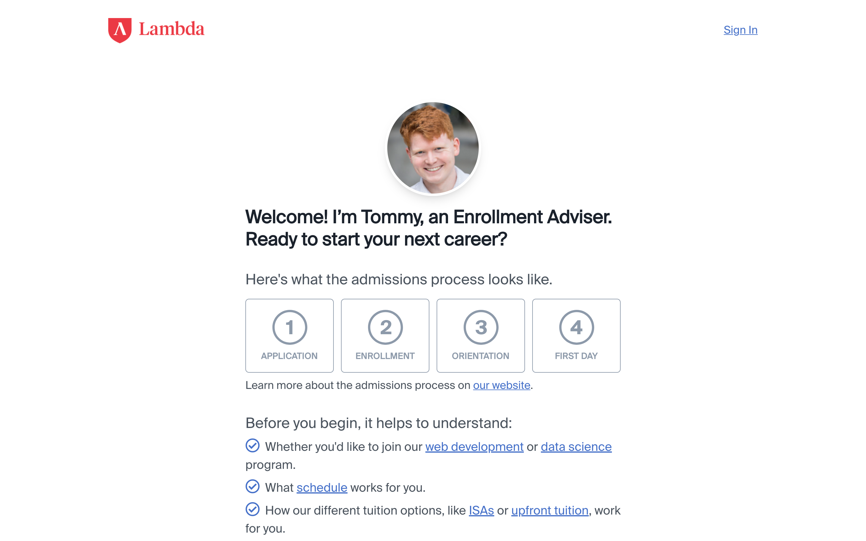 The Lambda School application.