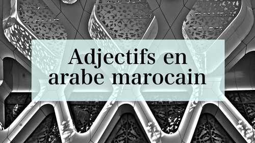 Adjectifs en arabe marocain