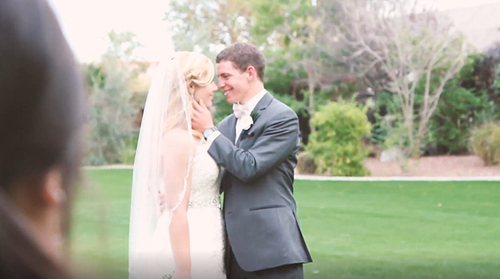 Jacqueline smiling at her groom
