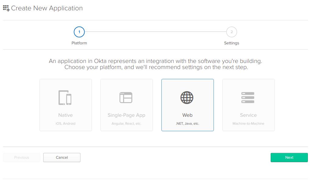 Screenshot of the Okta create application wizard.