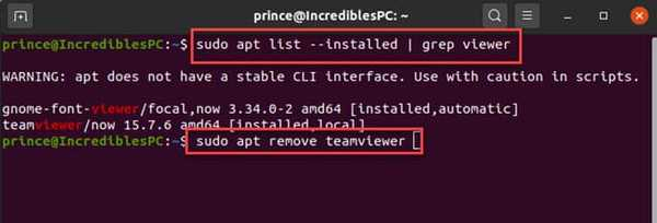 remove deb packages using apt command