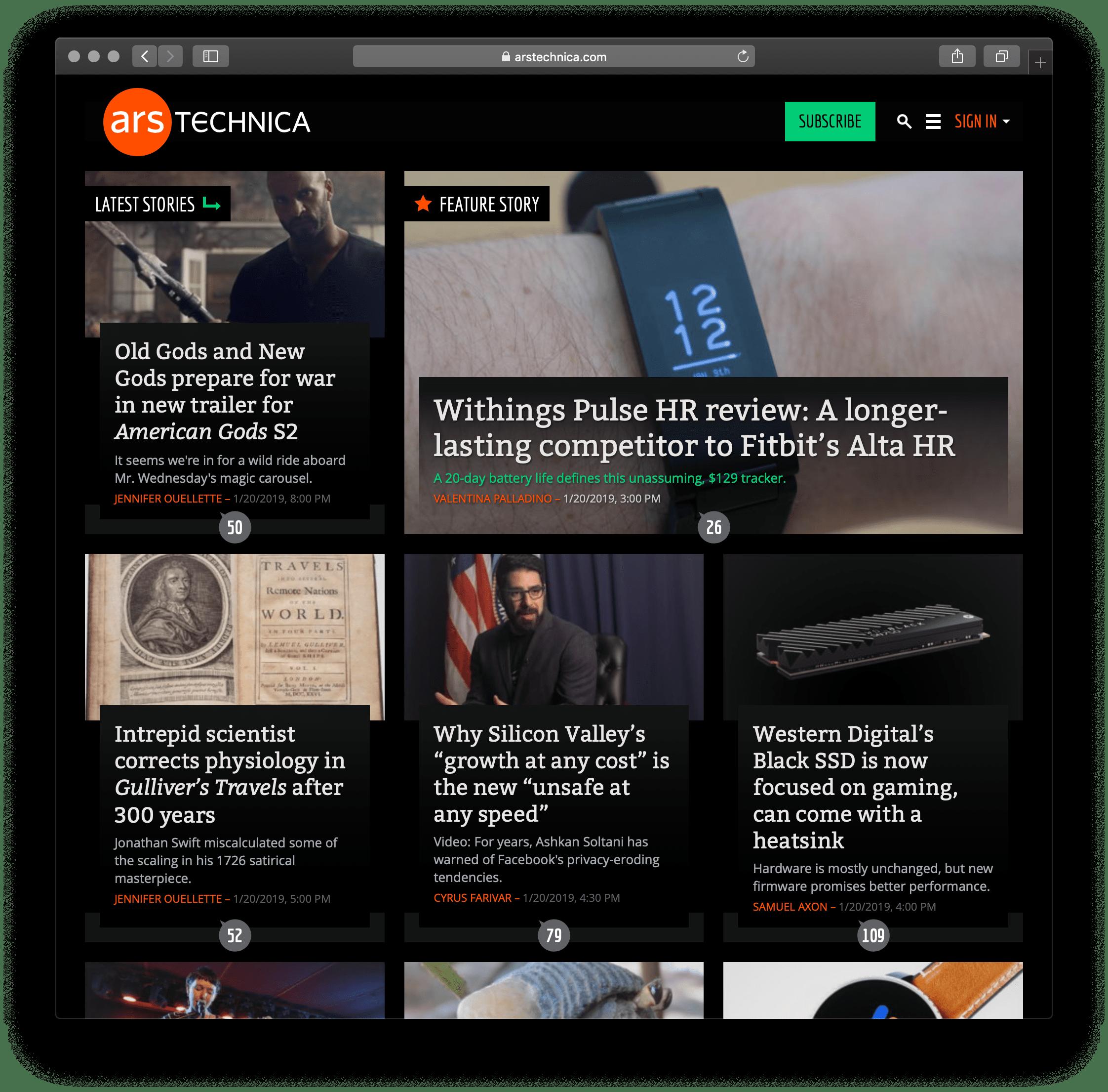 Ars Technica website using the dark theme.