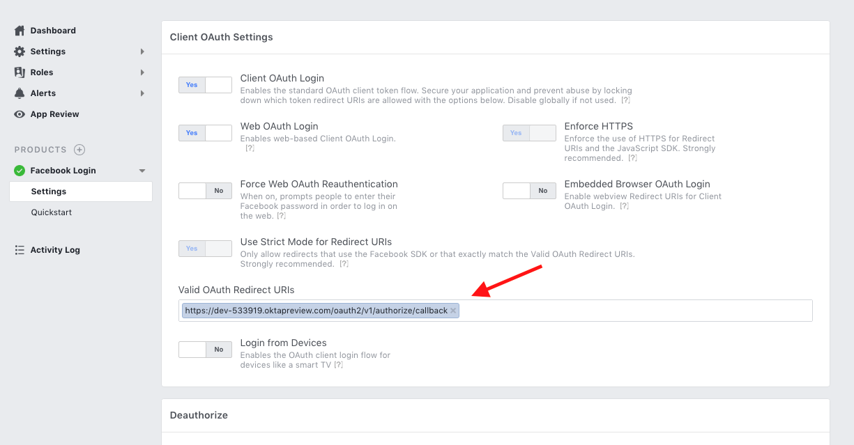 Create Facebook login app