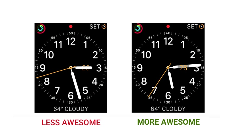 Two digital watch interfaces showing how skeuomorphism can improve design