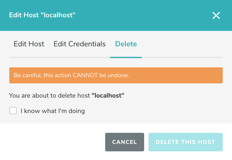Delete Host Popup