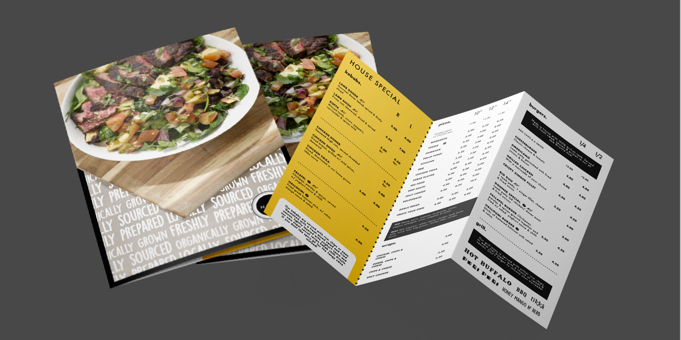 Printed menu for a kebab and burger takeaway in Doncaster