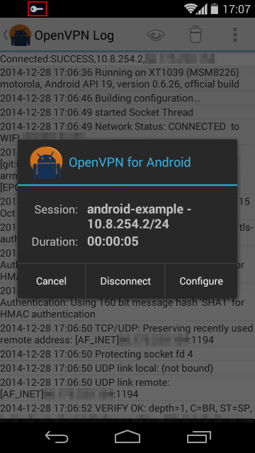 OpenVPN for Android after a successful connection
