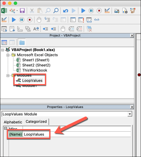 """The VBA editor in Microsoft Excel. A specific module has been selected from the tree menu, and renamed """"LoopValues"""""""