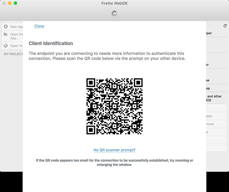 คลิกเลือกที่ชื่อ device ในครั้งแรก WebIDE จะแสดงรูป QR Code ขึ้นมา