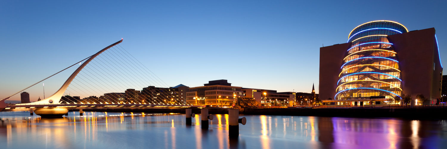 Dublins river liffey and the samuel beckett bridge with the conference hall