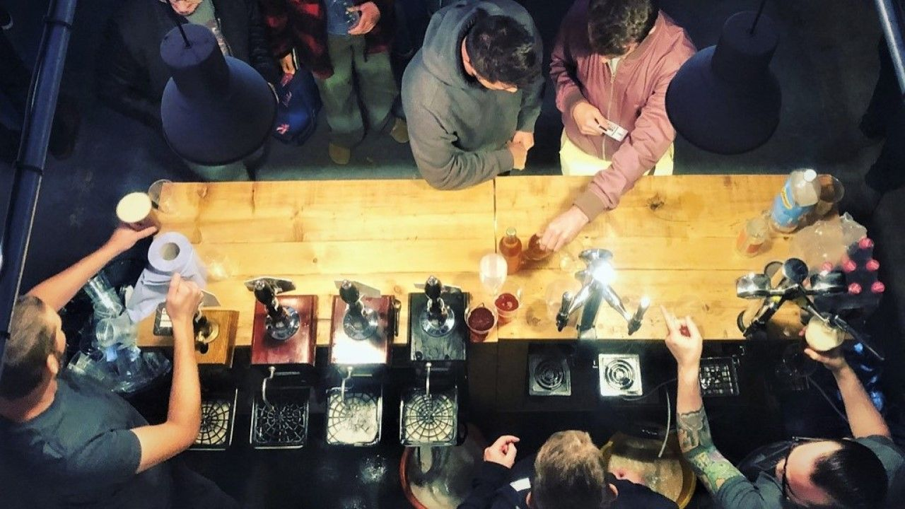Looking down on the bar at open night