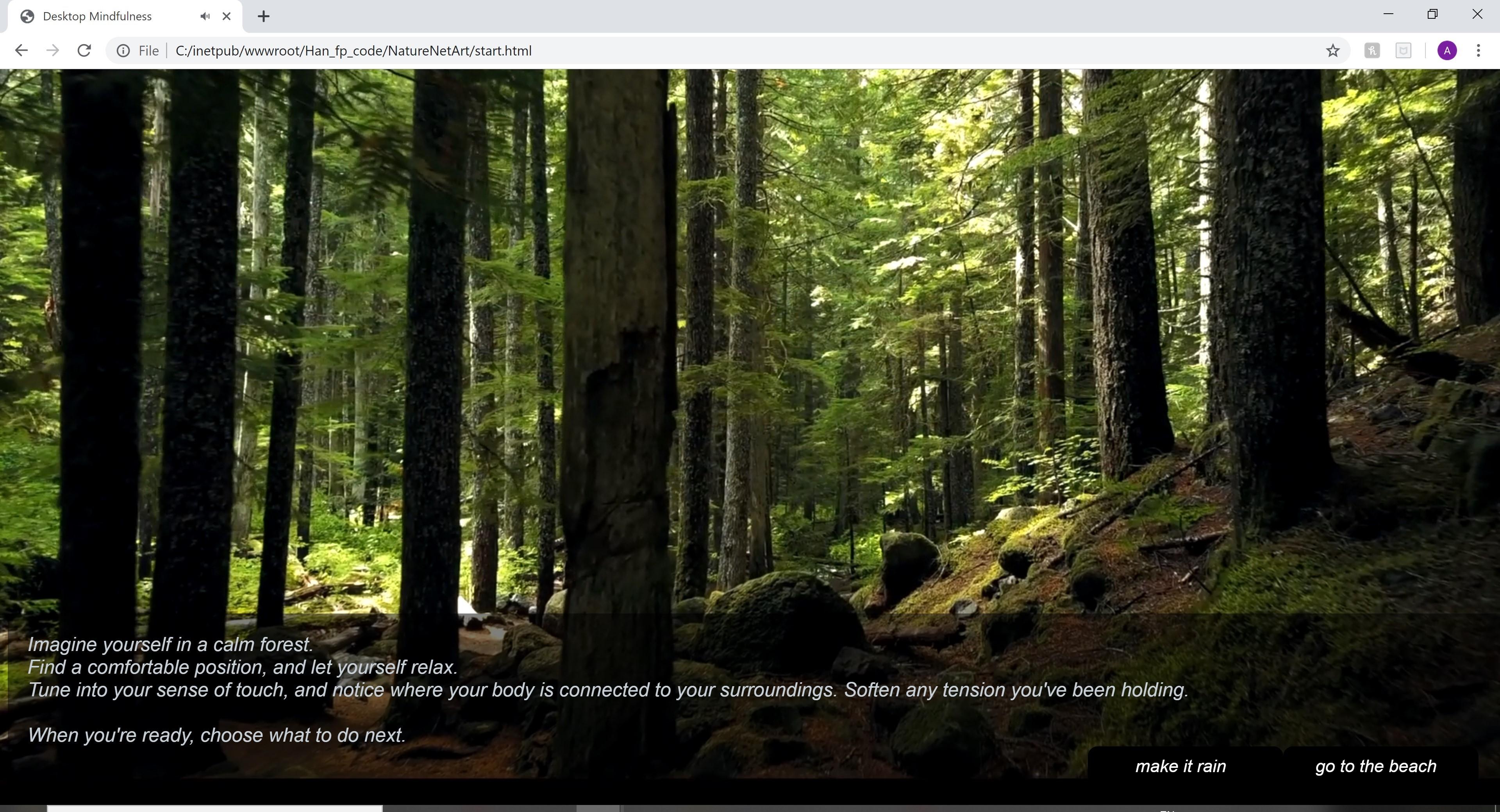 a screenshot of the Desktop Mindfulness website,                              showing meditation instructions over a background of trees