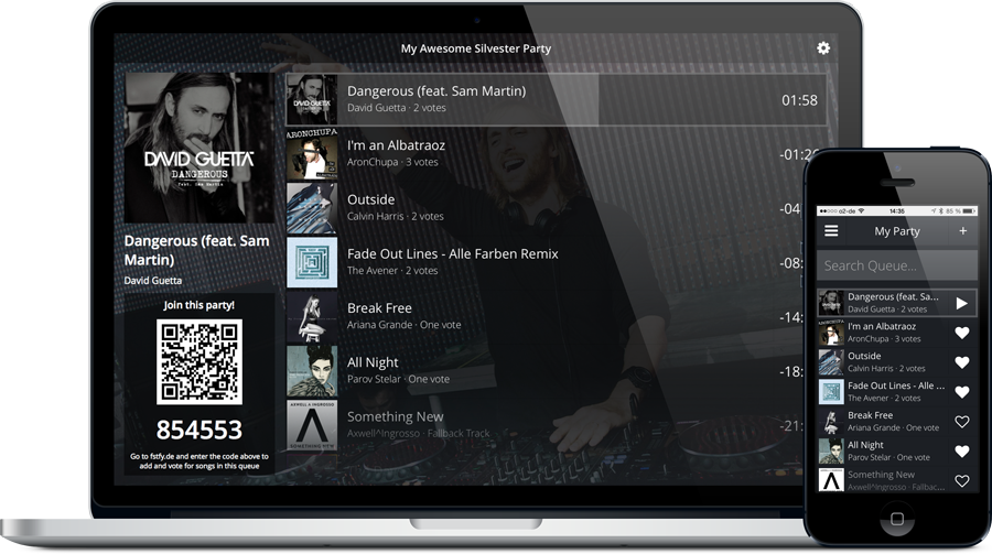 MacBook Pro and iPhone running Festify in Fullscreen Mode