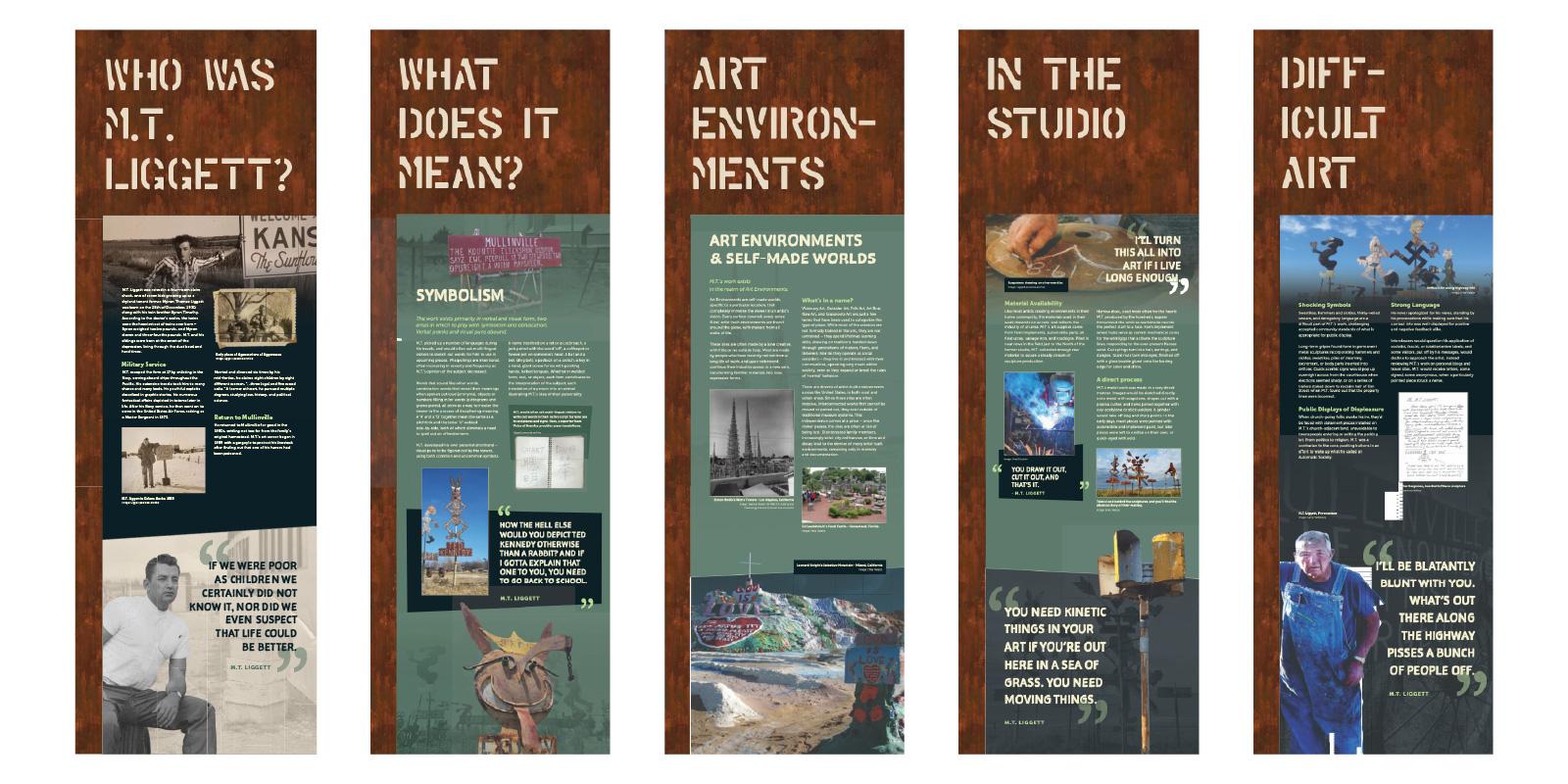 M.T. Liggett exhibit graphic layouts