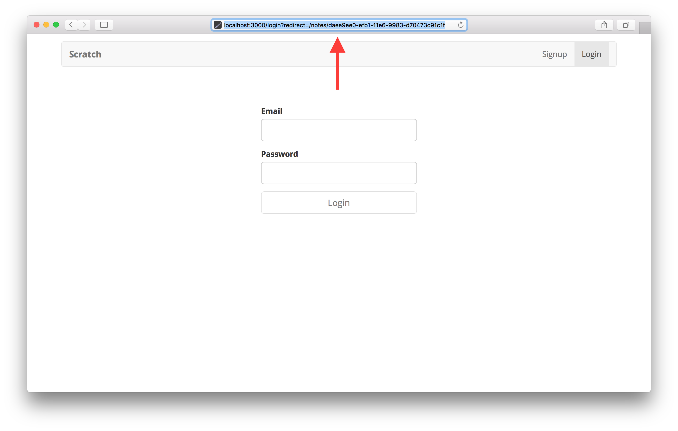 로그인 스크린 샷으로 리디렉션 된 노트 페이지