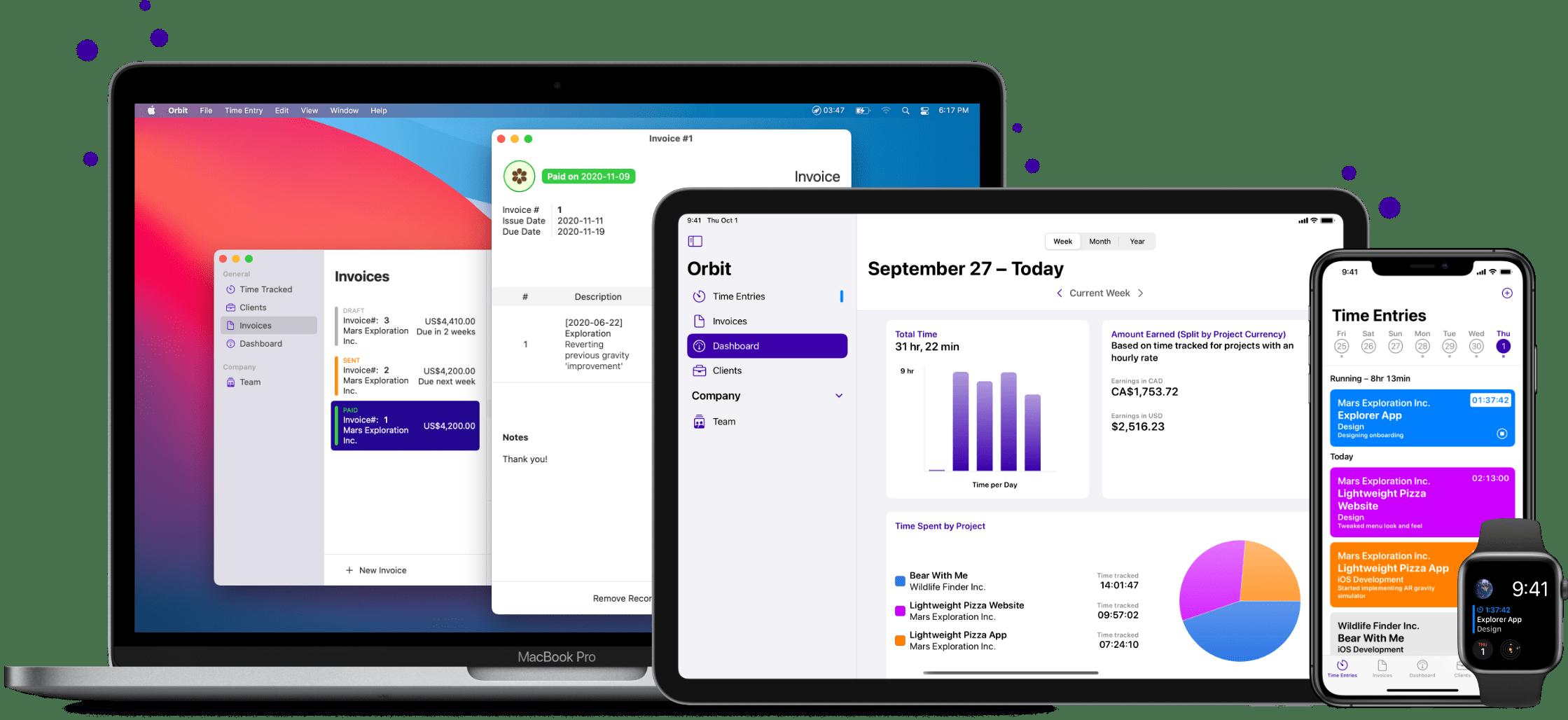 Orbit on macOS, iPadOS, iOS, and watchOS
