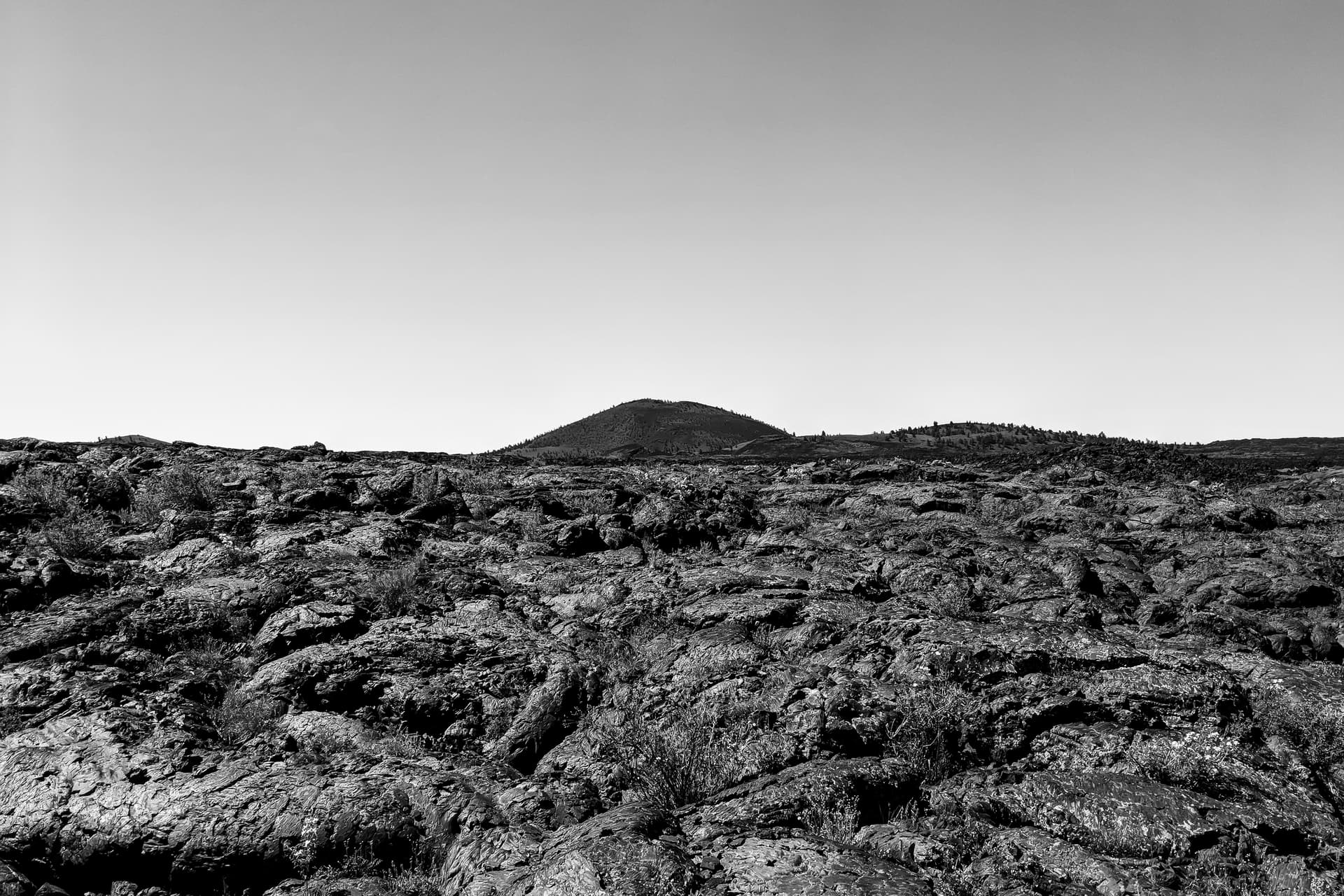 A scrub- and pine-covered cinder cone rises above a field of pillowy lava flows.