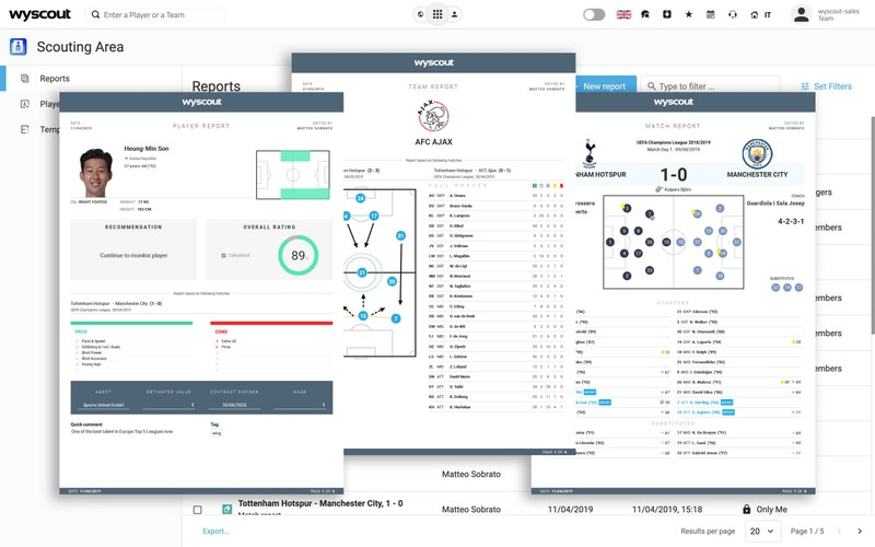 Multiple Wyscout dashboards showing player report, team report and match report