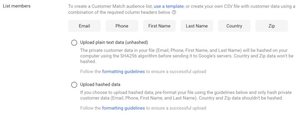 list of customer information