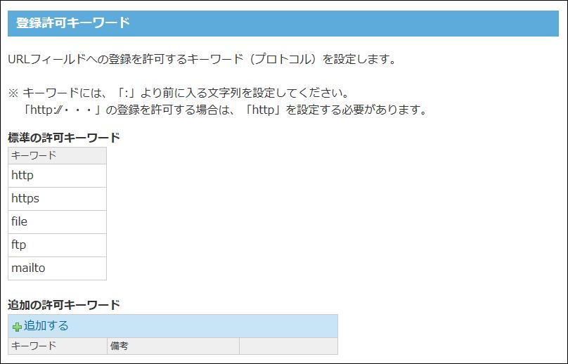 登録許可キーワードの設定画面の画像