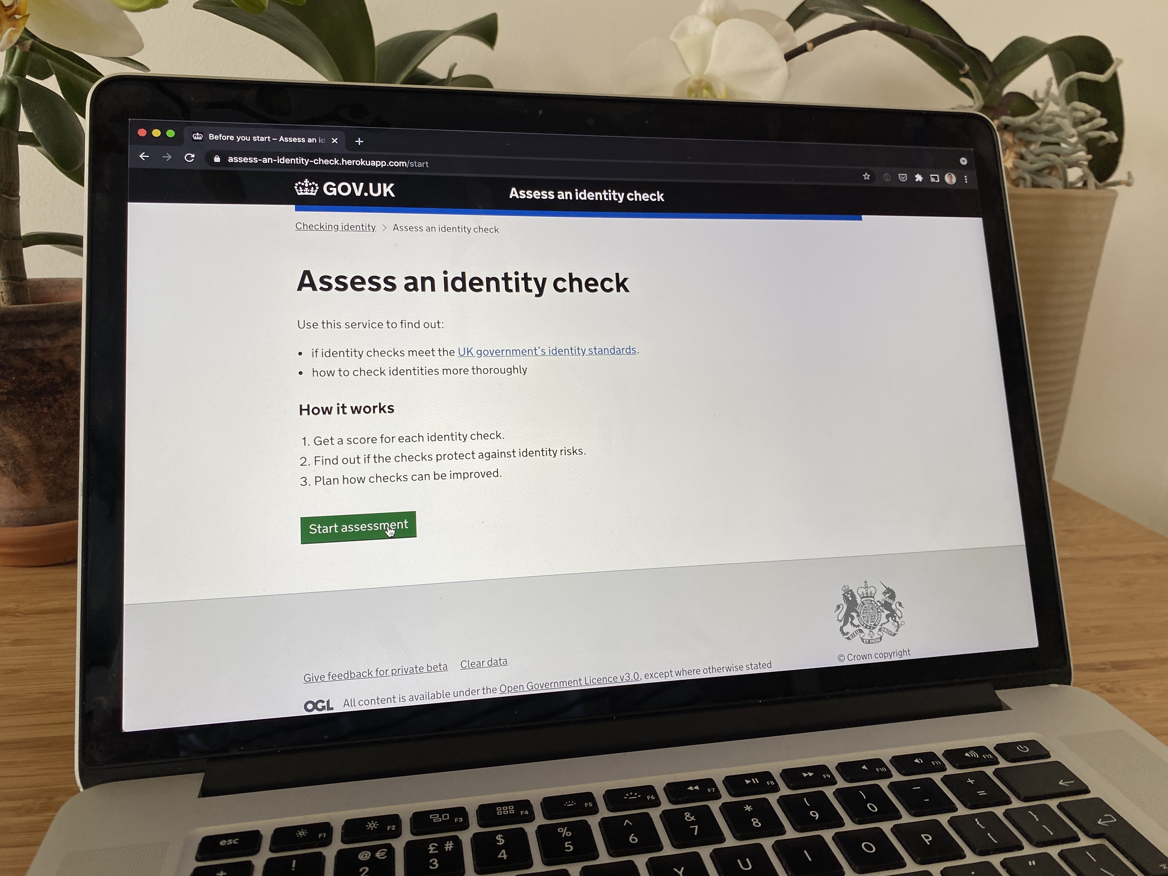 The start page for the identity check assessment tool