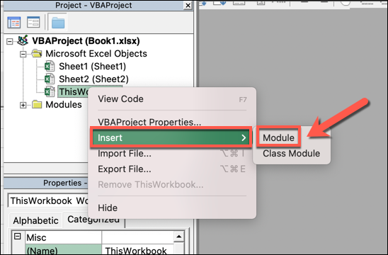 """The VBA editor in Microsoft Excel, which has opened in a separate window. A particular workbook has been selected from the tree menu and """"insert"""" then """"module"""" selected from the subsequent drop-down menu."""