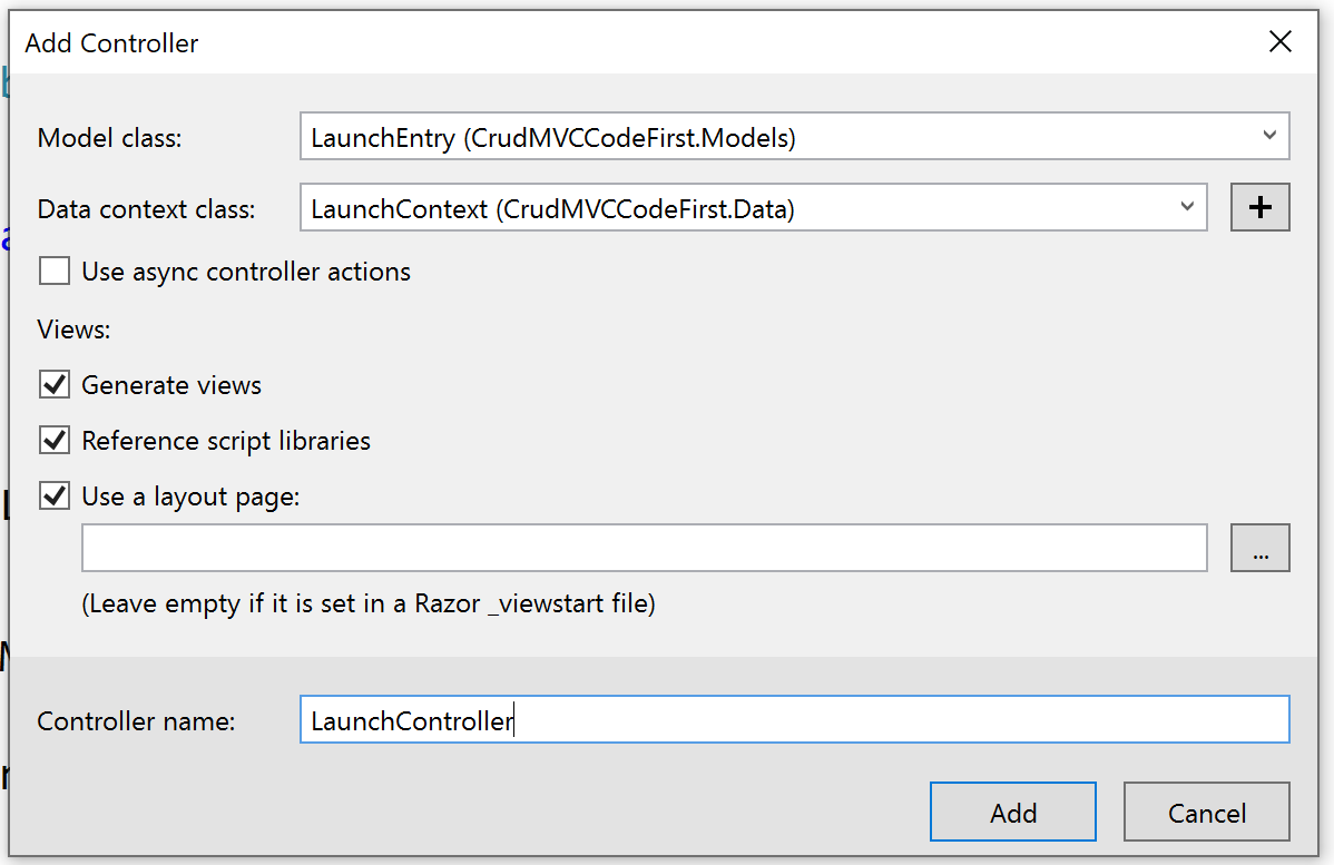 Visual Studio add controller