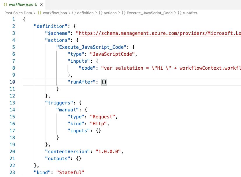 blog logic apps vs code json screenshot