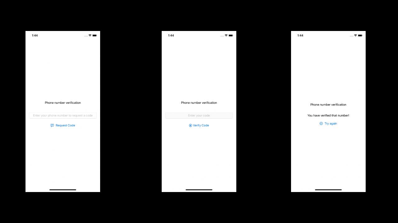 Test app screenshots
