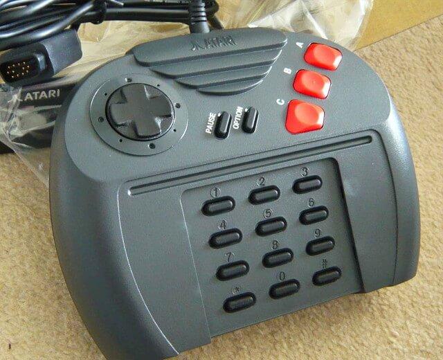 A photograph of a controller for Atari's Jaguar games console