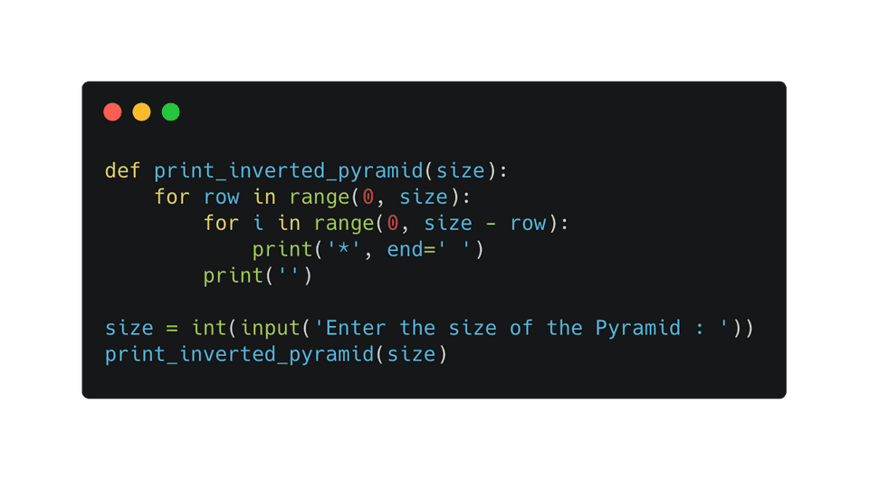 Python print inverted half pyramid