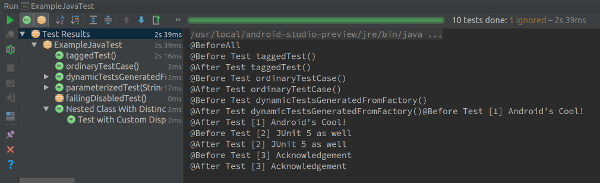 JUnit5 from Android Studio