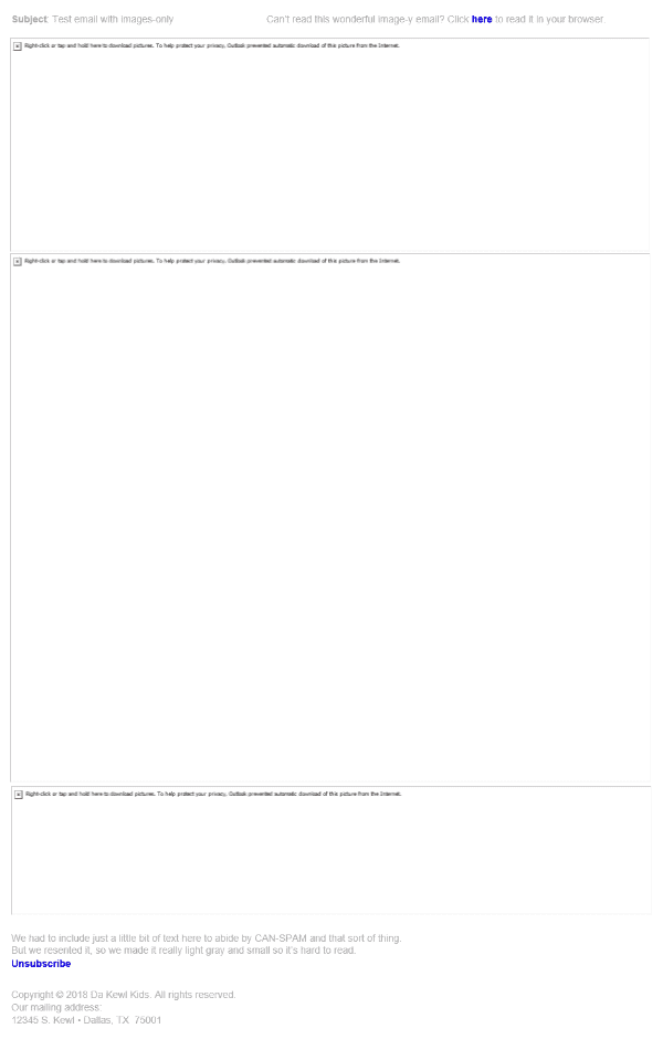 Email with many blank spaces because email client blocks images