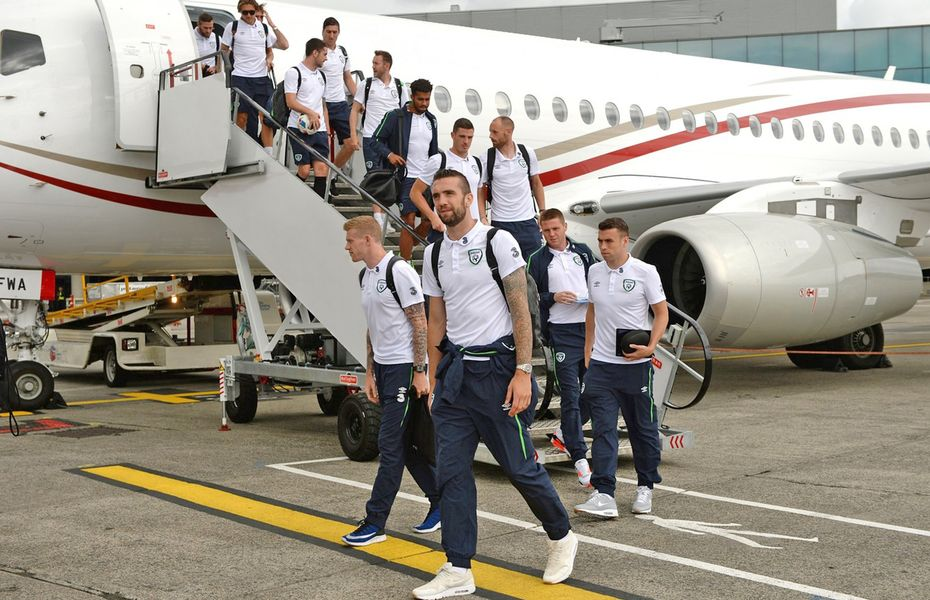 Sport team disembarking from aircraft