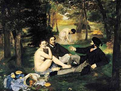 Edouard Manet's Dejeuner sur l'Herbe -- exhibited at the Salon of the Refused in 1863, it was by this work that Manet first threw down the gauntlet to the conservative art establishment.
