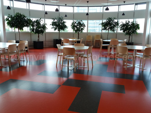 Large Cafe Virtual Background for Zoom with several tables and red vinyl floor