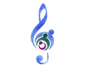 Painting of treble clef incorporating parents and a child