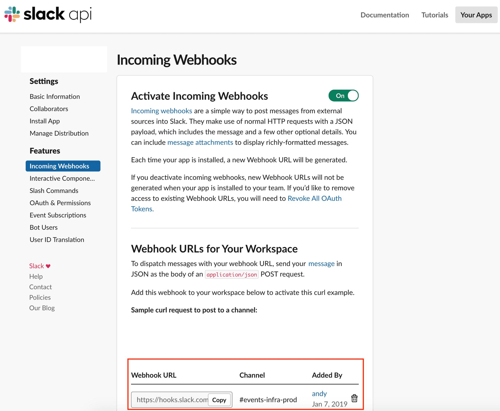 Slack webhook