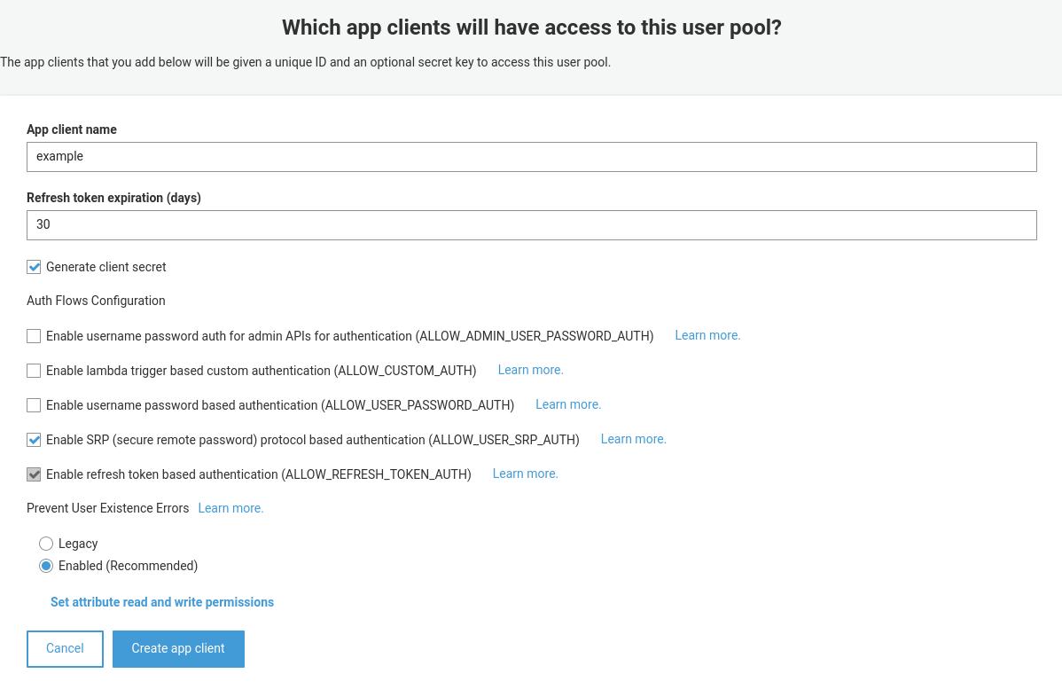 Cognito app client