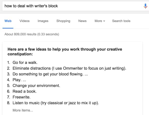 How to deal with writer's block \- Google Search