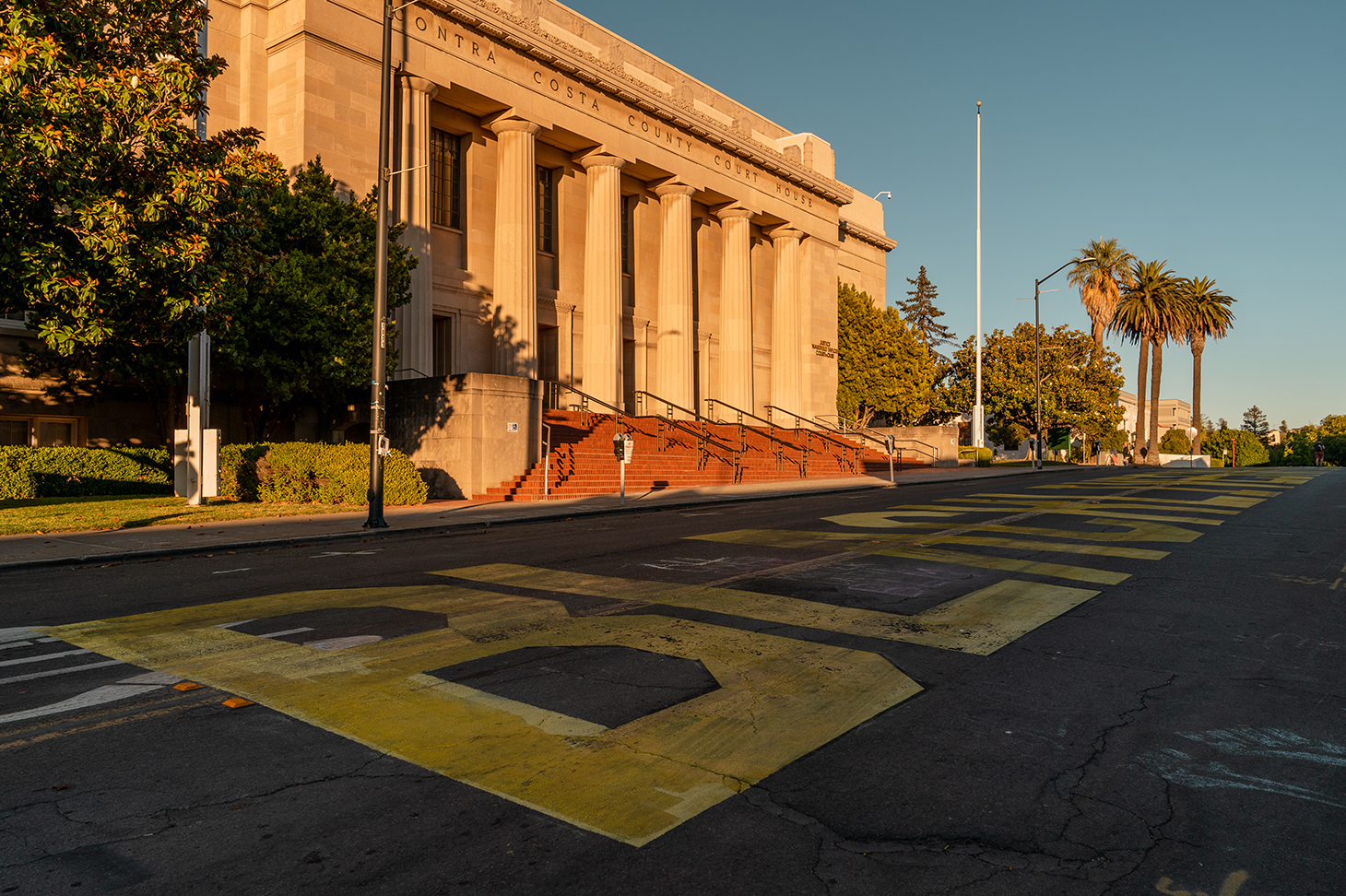 "Empty streets by the Contra Costa County Courthouse after the ""Zero Tolerance for White Supremacy"" protest in Martinez, Calif., on Sunday, July 12, 2020."