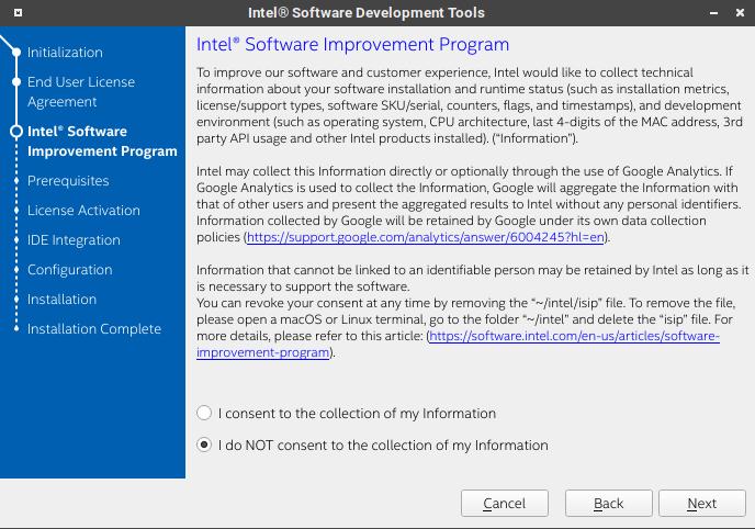 Intel System Studio 會收集匿名資料