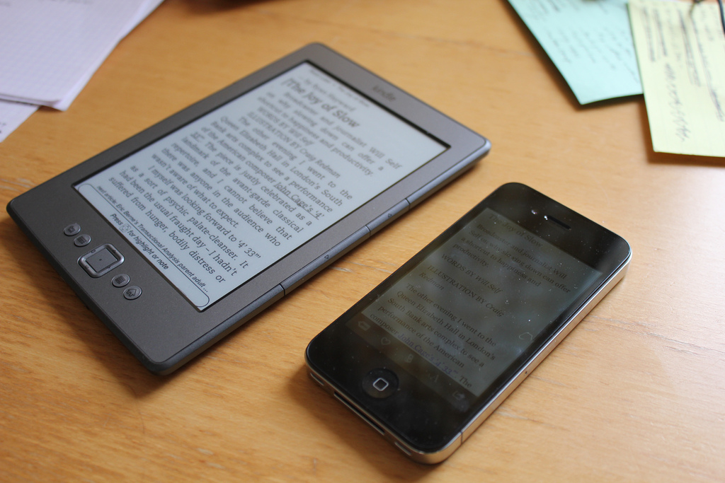 Kindle and iPhone side by side