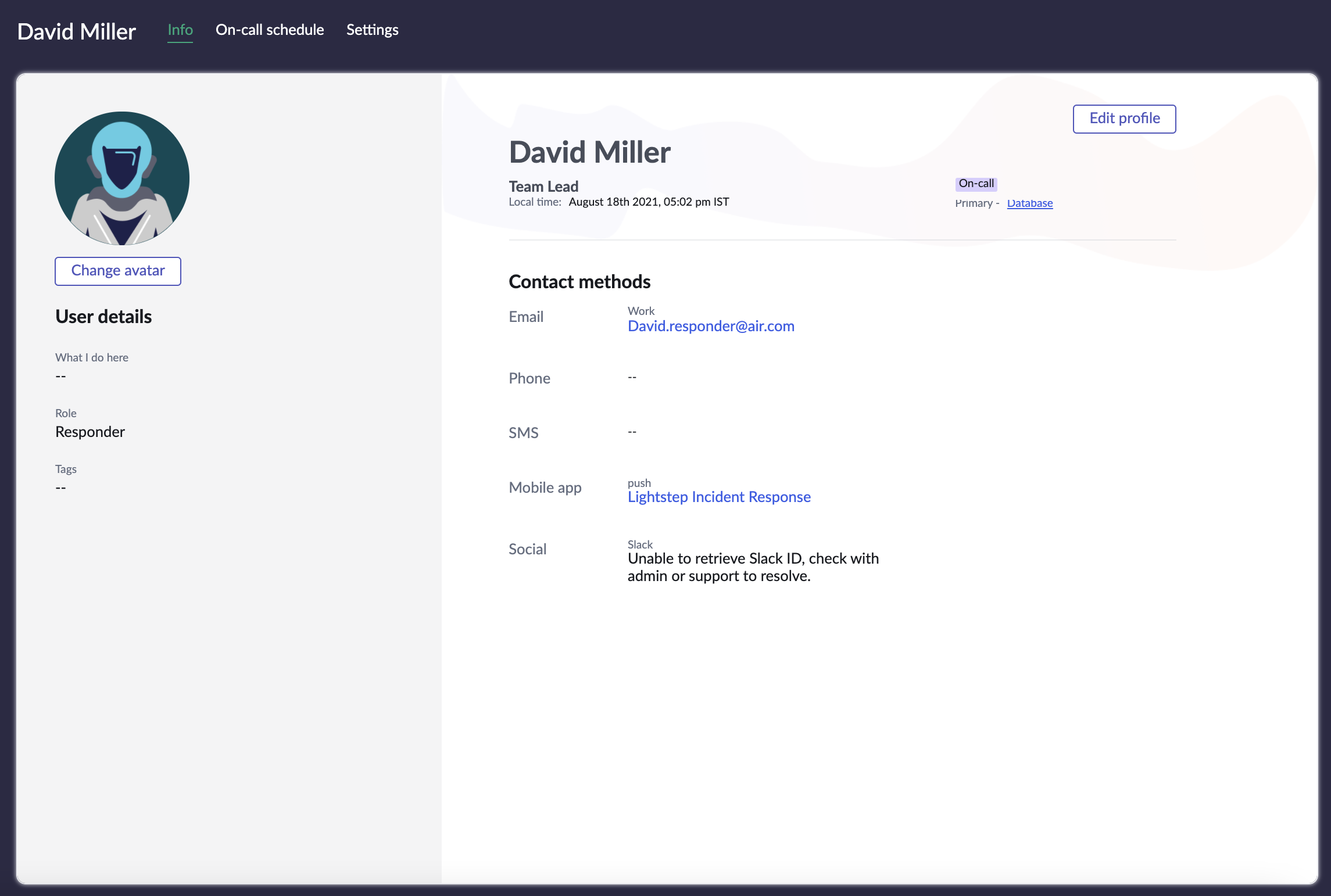 Profile page of the user where you can update details