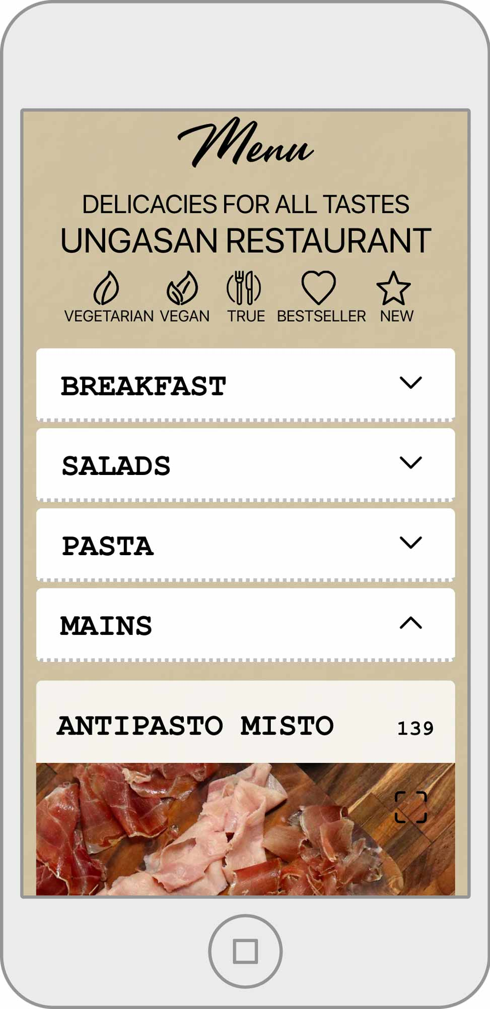 Casa Asia Ungasan Restaurant visual menu